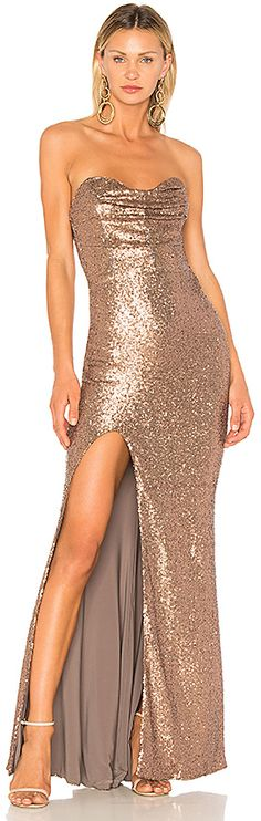 Geo Pattern Sequin Design Open Back Side Slit Mermaid Tail Maxi Dress in Rose Gold White V Neck Dress, White Sequin Dress, Side Slit Maxi Dress, The Dress, Sequin Maxi, Pink Formal Dresses, White Maxi Dresses, Strapless Dress Formal, Pink And Gold Dress