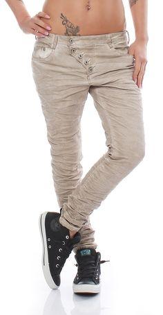 SKUTARI Luxuriöse Designer Denim Stretch Boyfriend Baggy Jeans Knitter Look offene gebogene Knopfleiste ,: Amazon.de: Bekleidung