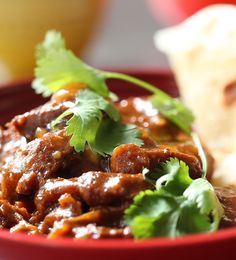 A traditional Cape Malay curry combines sweet and savoury flavours for a wonderfully fragrant and delicious meal. This recipe is slow cooked for meltingly tender beef, served over warm roti and garnished with fresh coriander. Healthy Pizza Recipes, Fast Healthy Meals, Healthy Family Meals, Healthy Snacks For Kids, Meat Recipes, Recipies, Malay Food, Vegetarian Comfort Food, Healthy Breakfast Options