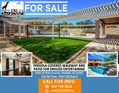 """PERGOLA-COVERED WALKWAY AND PATIO FOR ENDLESS ENTERTAINING"" 