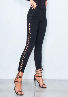 4dd781f77c4 Missyempire - Pia Black Lace Up Skinny Jeans Lace Jeans