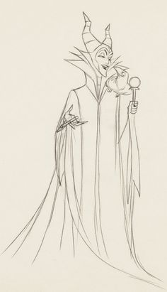 Sleeping Beauty Maleficent Animation Art Production Drawing (Walt Disney, Beautiful full figure drawing - Available at Sunday Internet Comics Auction. Disney Artwork, Disney Drawings, Cartoon Drawings, Cartoon Art, Maleficent Drawing, Maleficent Tattoo, Sleeping Beauty Art, Sleeping Beauty Maleficent, Sleeping Beauty Characters