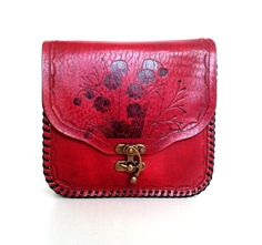 Red Leather Purse with flower pattern Choose your by ammaciyo