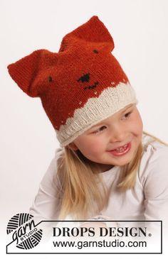 Miss Fox  - Ensemble DROPS: moufles, bonnet et chaussettes avec jacquard renard, en Alpaca. Taille 0 mois - 14 ans. Modèle enfant tricot gratuit DROPS Extra 0-1217