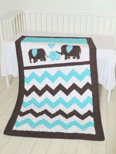 Baby quilt blanket elephant quilt bedding  by Customquiltsbyeva