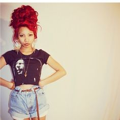 K Michelle Red Hair Bun ... Red Hot on Pinterest | Bright red hair, Red hair and Demi lovato red