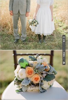 peach and green wedding bouquet | VIA #WEDDINGPINS.NET