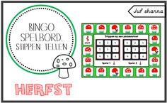 Juf Shanna: Thema herfst: bingo spelbord - stippen tellen
