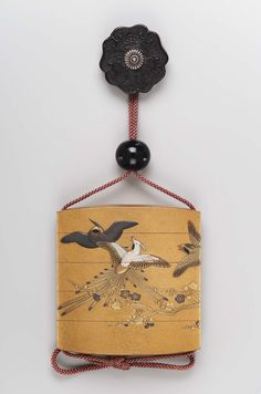 Four-case inro with bird and flower design Japanese, Edo Period, Late 18th century, Museum of Fine Arts, Boston