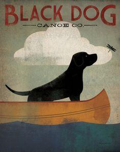 Framed Art Print 'Black Dog Canoe Co.' by Ryan Fowler 30 x (Black Dog Canoe 30 x Amanti Art - Medium (Acrylic) Black Labs Dogs, Black Labrador, Perros Chow Chow, Perro Labrador Retriever, Framed Art Prints, Canvas Prints, Framed Wall, Canvas Artwork, Dog Artwork