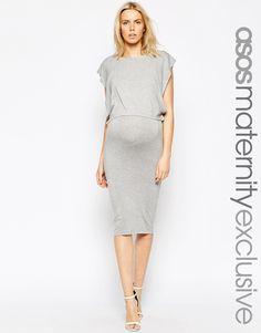 Image 1 ofASOS Maternity NURSING Midi Column Dress With Double Layer