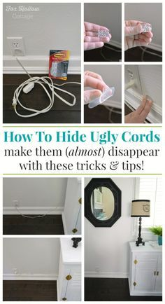 How To Cut The Clutter and Hide Unsightly Lamp Cords / Electrical Cords - www.foxhollowcottage.com @cottagefox