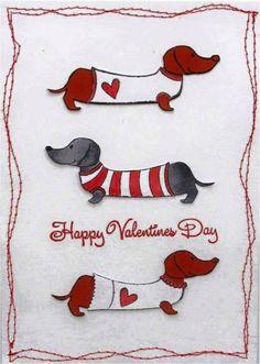 Valentine dachshunds