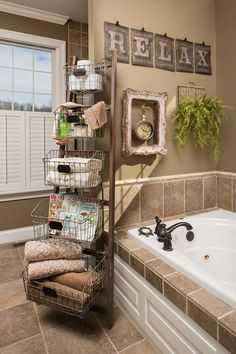 Instead of boring old corner shelves in your bathroom, why not try a set of baskets on a ladder instead?