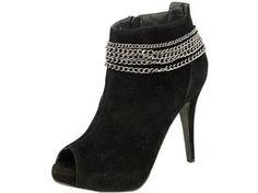 Reneeze SONIA-2 Suede Upper Women's High-Heels Ankle Boots - Black