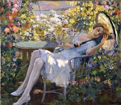 Young Girl with a Parasol, Edward Cucuel. American Impressionist Painter (1875-1954)