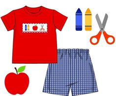 Boys Smocked School Supplies Red Shirt & Blue Gingham Shorts Set