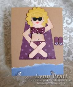 SU punch art by Stamp-n-Design: Tanning Bikini Beach Babe Paper Punch Art, Punch Art Cards, Paper Art, Beach Cards, Easy Paper Crafts, Card Crafts, Cool Cards, Kids Cards, Scrapbook Cards