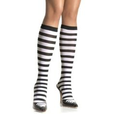 These Black and White Striped Knee High socks from Leg Avenue are opaque and feature bold stripes in alternating black and white. Perfect for a Prisoner costume or Alice in Wonderland costume! Marvel Women Costumes, Striped Knee High Socks, Costume Craze, Knee High Stockings, Pirate Woman, Leg Avenue, Halloween Accessories, High Knees, Knee Socks