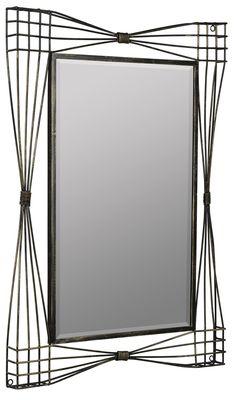 Jessa Mirror Aged Gold Finish with Dark Espresso Highlights; Beveled Mirror