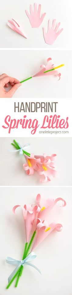 These handprint lilies are so easy to make and they look so beautiful! You can use coloured paper and make a bouquet of paper handprint lilies for Mother's Day. Or if you make them with white paper they make lovely Easter lilies. They're such an awesome Mother's day craft and a low mess Easter craft idea!