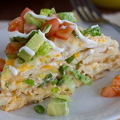 Chicken Tortilla Stack - maybe alter recipe to take out hot sauce and add cream of chicken soup.