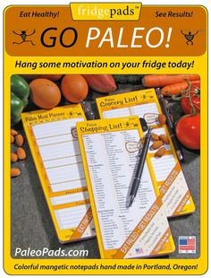 Paleo Shopping List Notepad with Magnetic back & Magnetic pen. could actually be useful, as most premade shopping lists have a bakery and/or dairy section on them!