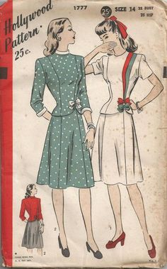 1930s or 40s Two Piece Dress Hollywood 1777 Size 14.