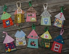 Fabric house ornaments tutorial