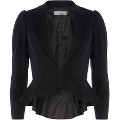 Petite midnight peplum jacket ($69) ❤ liked on Polyvore
