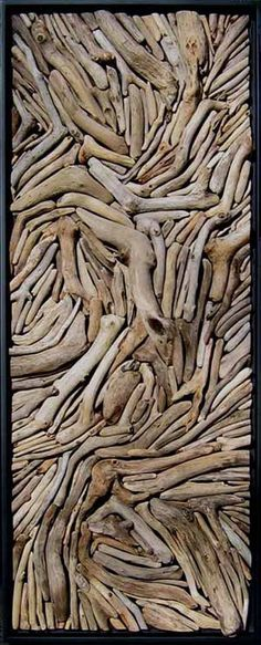 "I just keep thinking about the colors in driftwood as my inspiration. Driftwood art work, like this, would be an awesome touch."" Driftwood mounted onto wood. No paint added. Driftwood Projects, Driftwood Art, Driftwood Mobile, Driftwood Wreath, Driftwood Furniture, Driftwood Sculpture, Driftwood Headboard, Branch Art, Deco Nature"