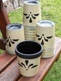 Painted Pots, Diy Room Decor, Decoupage, Cactus, Shabby Chic, Diy Projects, Exterior, Patio, Canning