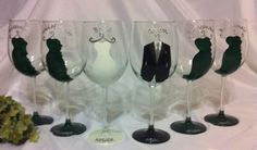 6 Bridal Party Wine Glasses Variety of Glasses available