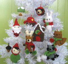 Amigurumi Woodland Christmas Ornament Crochet Pattern Set PDF. $6.00, via Etsy.