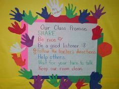 Cute idea for displaying our essential agreement- I love that the kids cut their. Cute idea for displaying our essential agreement- I love that the kids cut their hand shapes! Classroom Expectations, Classroom Rules, Future Classroom, Classroom Themes, School Classroom, School Fun, Classroom Promise, School Ideas, School Displays