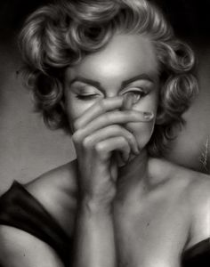 Marilyn by Sarah Chreene, via Behance (digital portrait, made using sloftware sai and gimp)