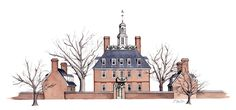 Watercolor, pen and ink of Williamsburg, Virginia's Governor's Palace at Christmastime by artist Esther BeLer Wodrich. Prints and originals of this and more in the architecture series can be found at www.estherbeler.com/shop.