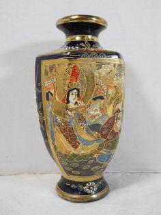 """Antique/Vintage Japanese Satsuma Porcelain Vase Moriage Enamel & Gold 7 1/8"""" #Seepictureofmakersmarks"""
