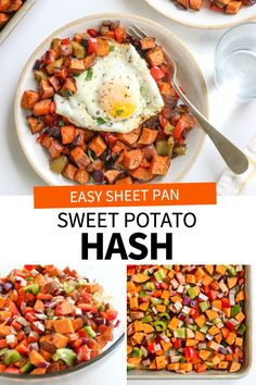 Sweet Potato Hash is cooked in the oven on a sheet pan, for an easy hands-off breakfast or brunch. I love the savory flavors in this healthy recipe! Savory Sweet Potato Recipes, Sweet Potato Oven, Sweet Potato Side Dish, Potato Hash Recipe, Sweet Potato Breakfast, Potato Sides, Potato Side Dishes, Easy Sweet Potato Recipe, Savory Breakfast