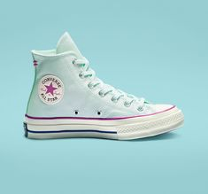 Chuck 70 Pastel High Top Teal Tint/Active Fuchsia/Egret Source by women Shoes Converse All Star, Converse Shoes High Top, Shoes With Jeans, Vans Sneakers, Sneakers Fashion, Fashion Shoes, Womens Converse High Tops, White Converse, Converse Chuck