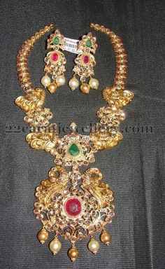 Jewellery Designs: Antique Finish Peacock Haram