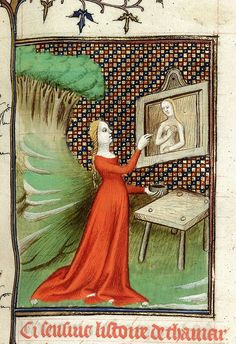 Thamar painting the goddess Diana. From Boccaccio, Des cleres et nobles femmes, De claris mulieribus in an anonymous French translation c. 1400-25, French (Paris). British Library MS Royal 20 C V  f. 90