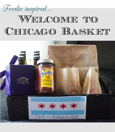 Welcome to Chicago basket, welcome bags, Chicago Foodie, out of town bags- Chicago