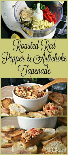 Roasted Red Pepper and Artichoke Tapenade A tasty spread of my favorite Italian/Mediterranean flavors--artichokes, roasted red bell peppers, Parmesan cheese, and capers Tapenade, Italian Appetizers, Yummy Appetizers, Appetizer Recipes, Mediterranean Appetizers, Mexican Food Recipes, Italian Recipes, Cooking Recipes, Healthy Recipes