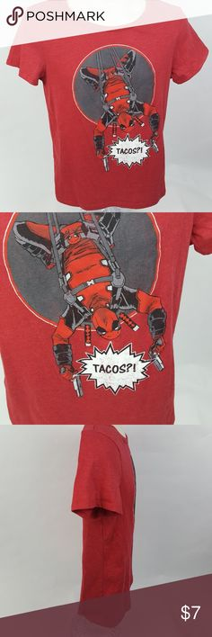 "Marvel Deadpool Tacos Unisex Graphic T-shirt 60% Cotton 40% Polyester Decal has a natural aged look  25"" long 17"" Chest  Bin G4 Marvel Shirts & Tops Tees - Short Sleeve"
