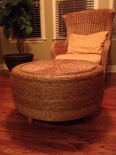 DIY Ottoman: How to save a tire from the landfill and turn it into an ottoman for the price of some rope, glue and plywood.