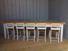 """Large 2 1/2"""" Thick Table Top with 10 Painted Chairs  Here at UKAA we can make tables to your exact measurements, not matter how large or small"""
