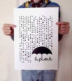 il pleut A3 #Screenprint in Black by hello DODO