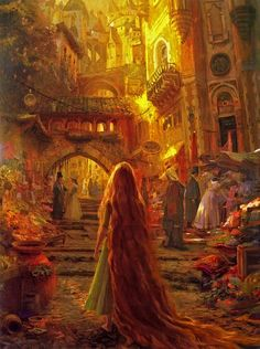 Tangled Disney concept art ~Craig Mullins - WOW so beautiful! Looks like a Pre Raphelite painting