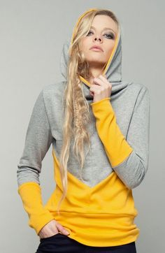new trend hoody goldmohn grey-yellow ocher by bluetezeitberlin on Etsy Sport Fashion, Diy Fashion, Autumn Fashion, Diy Clothing, Sewing Clothes, Sport Outfits, Cute Outfits, Traje Casual, Pull Sweat